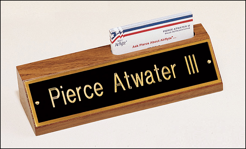 American walnut nameplate with business card holder.