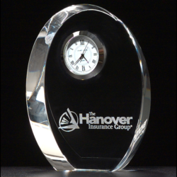 Crystal clock with three-hand movement and silver bezel