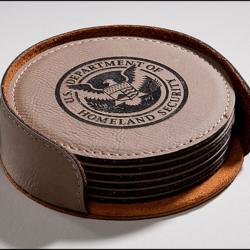 Laser Leather Round Coaster Gift Set of Six