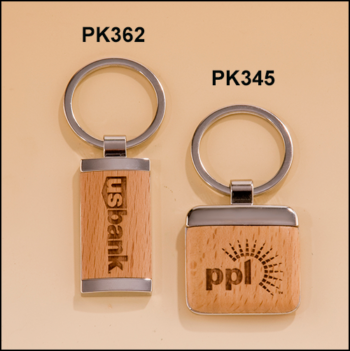 Silver key rings with Maple wood inserts.