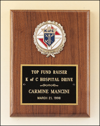 """Solid American walnut plaque with 2"""" activity insert."""