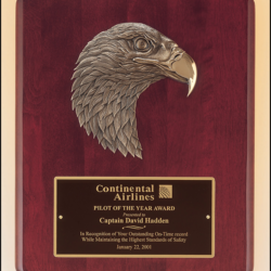 Eagle Plaques Rosewood stained piano finish Airflyte plaque with antique bronze finish finely detailed eagle casting.